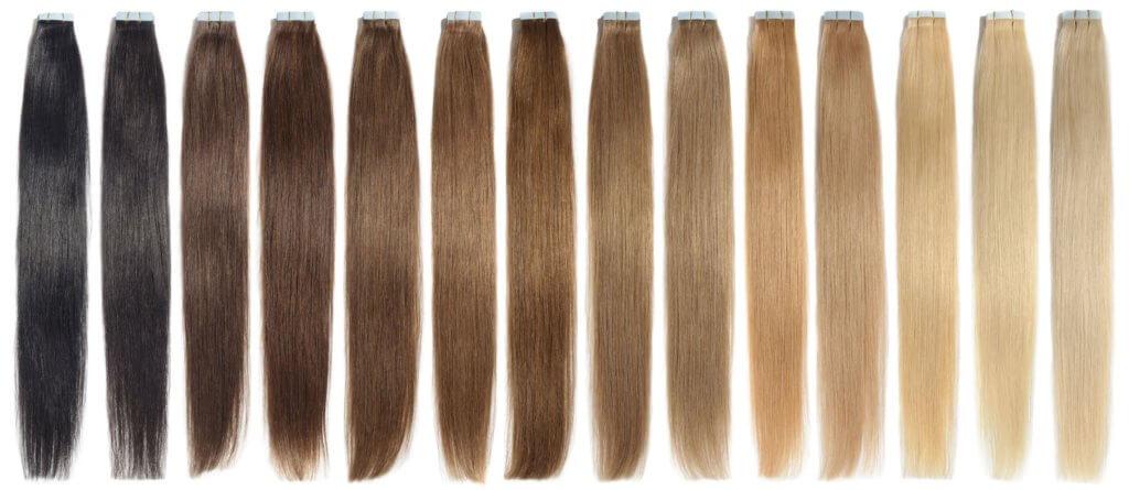 Tape-In Extensions in verschiedenen Farben als schonende Methode für  eine Haarverlängerung bei kurzen Haaren